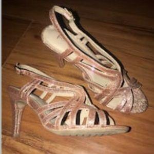 Rialto Rose Gold Strappy Heels.